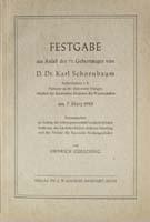 Festgabe aus Anlaß des 75. Geburtstages von D. Dr. Karl Schornbaum Hrsg. von Heinrich Gürsching-0