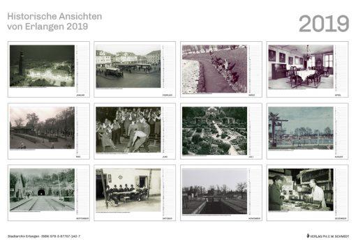 Auf 13 Schwarz/Weiß-Fotografien aus den Beständen des Stadtarchivs Erlangen vermittelt der Monatskalender Ansichten Erlangens aus der ersten Hälfte des 20. Jahrhunderts: Bahnhofsplatz und Hugenottenplatz, Botanischer Garten und Röthelheimbad, Ludwigskanal und Burgbergtunnel.