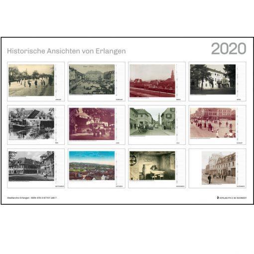 Historische Ansichten von Erlangen. Monatskalender 2020