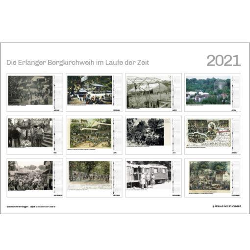 Die Erlanger Bergkirchweih im Laufe der Zeit - Kalender 2021 - Übersicht